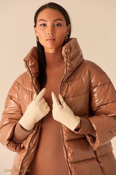 Фактурные перчатки из натуральной кожи 044917003