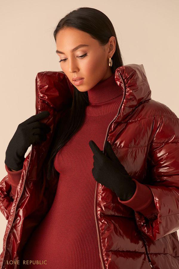 Лаконичные черные перчатки из шерсти 044917004-50