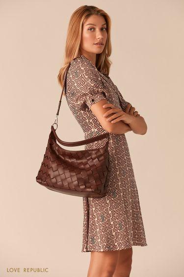 Плетеная сумка-хобо из экокожи 044920138
