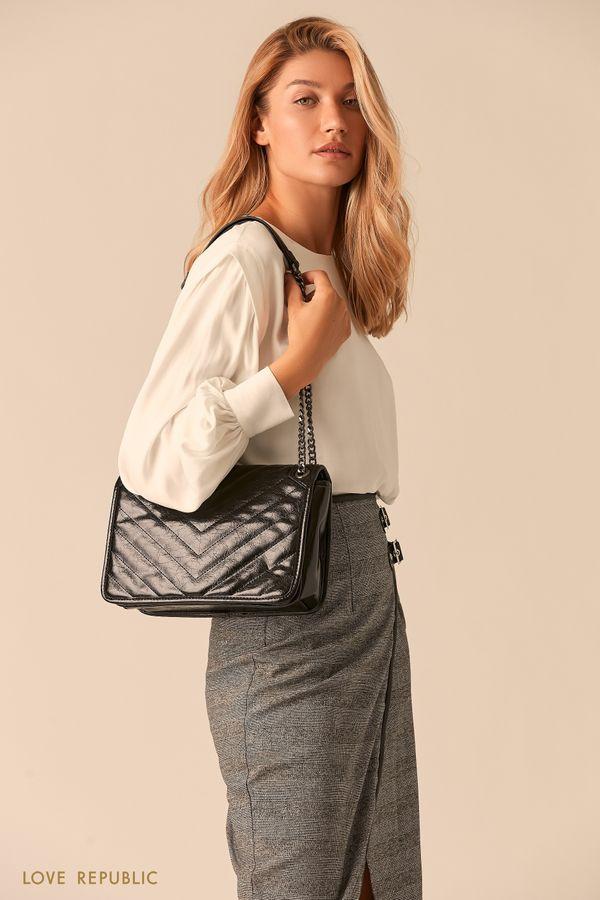 Черная сумка из экокожи на цепочке 044920135-50