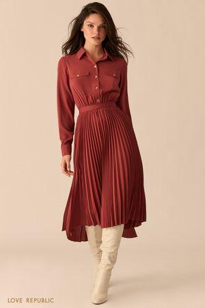 Платье с плиссированной юбкой асимметричного кроя
