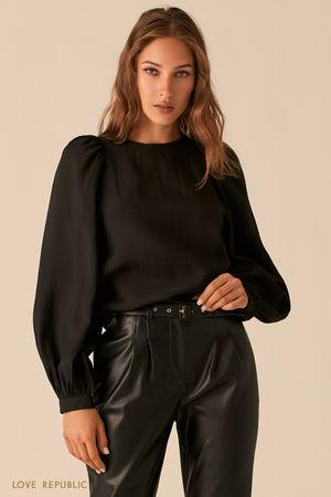 Черная блузка из тенсела с рукавами-буфами фото