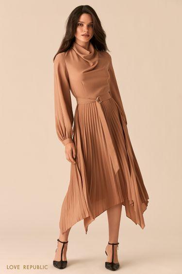 Платье с асимметричной юбкой-плиссе и рукавами с разрезами 0450003502