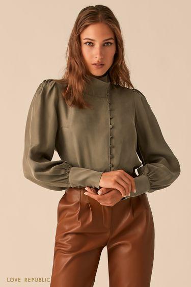 Блузка в викторианском стиле из купро цвета хаки 0450008305