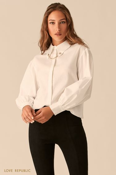 Белая блузка с золотыми уголками на воротничке 0450012308