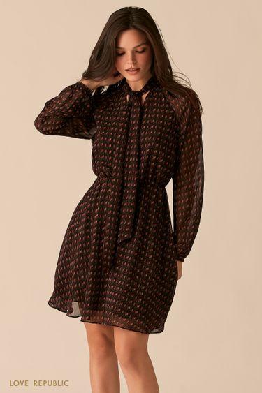 Шифоновое платье с галстуком с геометричным принтом 0450016521