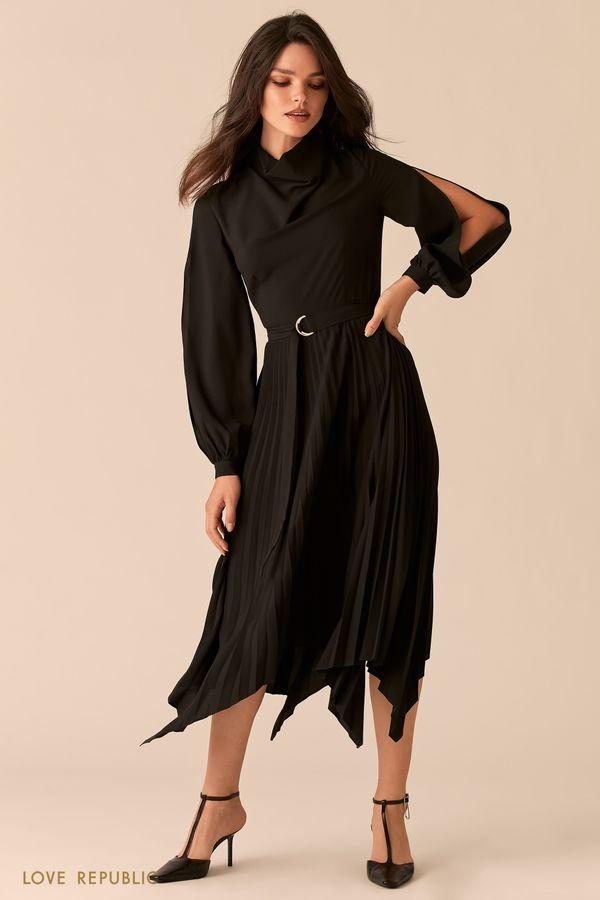 Платье с асимметричной юбкой-плиссе и рукавами с разрезами 0450003502-50