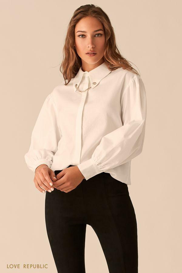 Белая рубашка с золотыми уголками на воротничке 0450012308-1