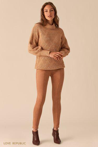 Облегающие брюки с фактурными швами из экозамши 0450109702