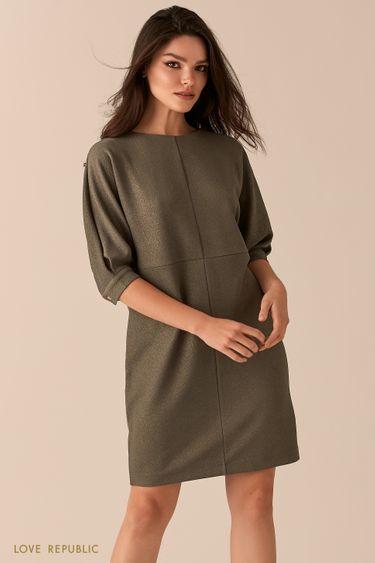 Платье свободного кроя с люрексом цвета хаки 0450115527
