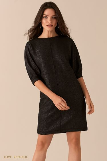 Платье свободного кроя с люрексом черного цвета 0450115527