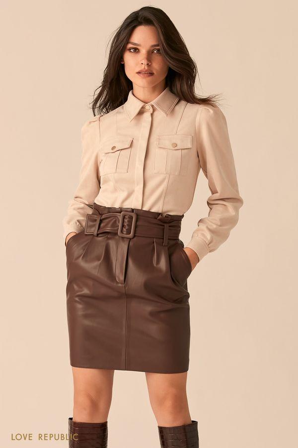 Рубашка из экозамши в ковбойском стиле 0450104311-61