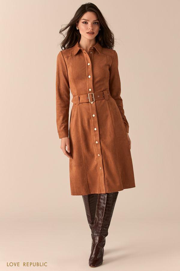 Платье-рубашка из экозамши в оттенке коньяк 0450104517-28