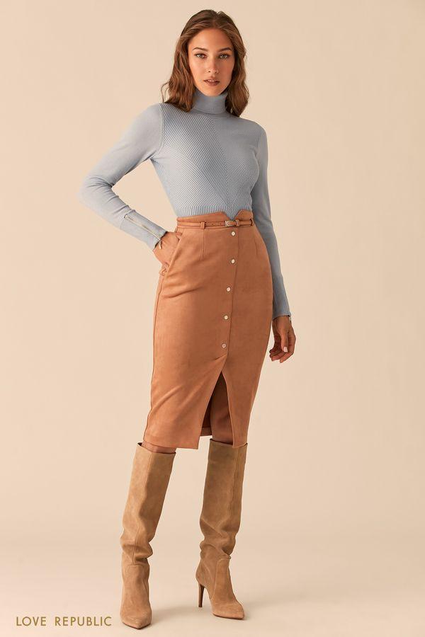 Кремовая юбка-карандаш из экозамши с разрезом и тонким ремешком 0450109208-61