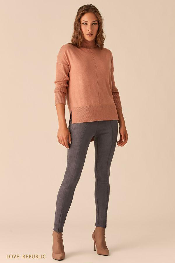 Облегающие брюки с фактурными швами из экозамши 0450109702-28