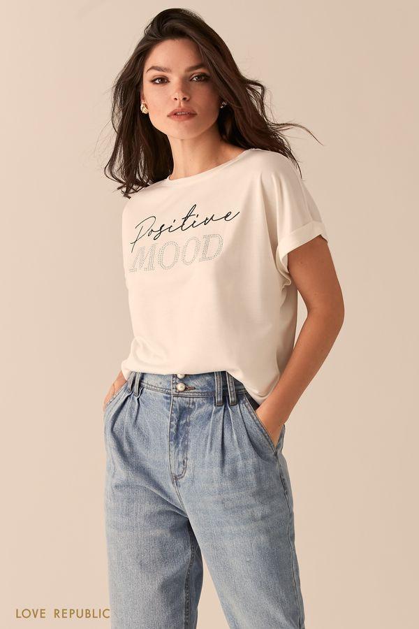 Черная свободная футболка из модала с принтом на груди 0450110309-1