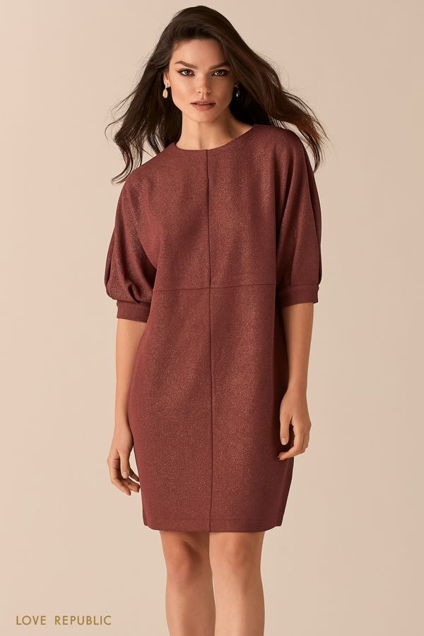 Платье свободного кроя с люрексом черного цвета 0450115527-50