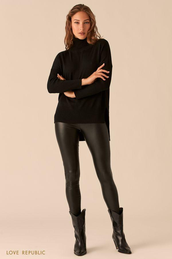 Черные брюки прилегающего силуэта из экокожи 0450117707-50