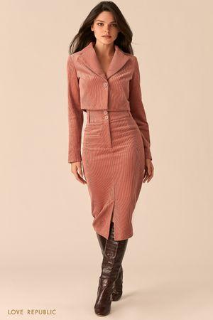 Вельветовая юбка-карандаш с разрезом цвета пудры