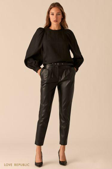 Лаконичные брюки-бананы из гладкой экокожи черного цвета 0450208704