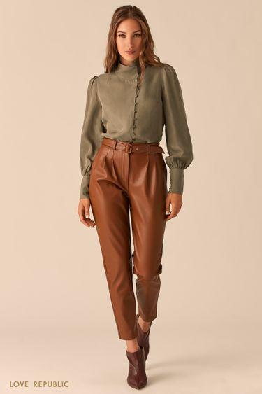 Лаконичные брюки-бананы из гладкой экокожи цвета меди 0450208704