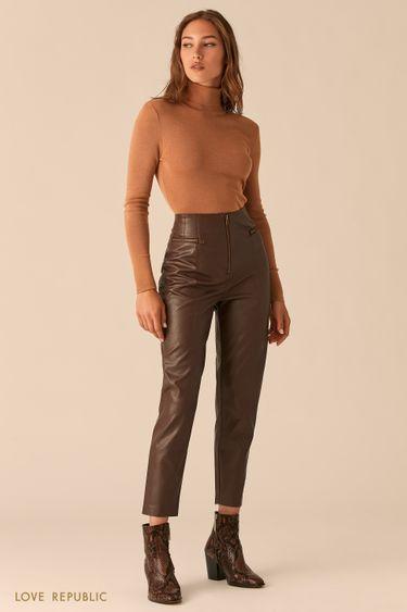 Шоколадные брюки из экокожи с акцентными молниями 0450212708