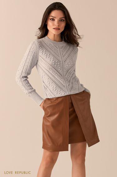 Двойная юбка из экокожи с разрезом 0450213210