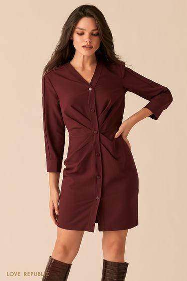 Мини-платье сливового цвета с акцентными драпировками на талии 0450214538