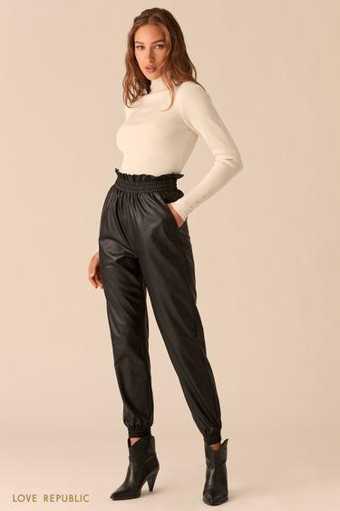 Черные брюки-джоггеры из экокожи на резинках 0450215713