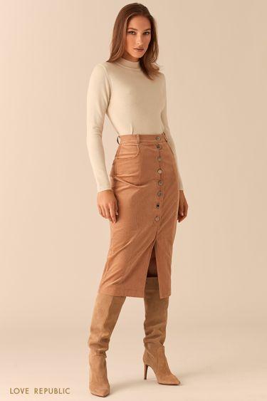 Вельветовая юбка миди на пуговицах 0450223215