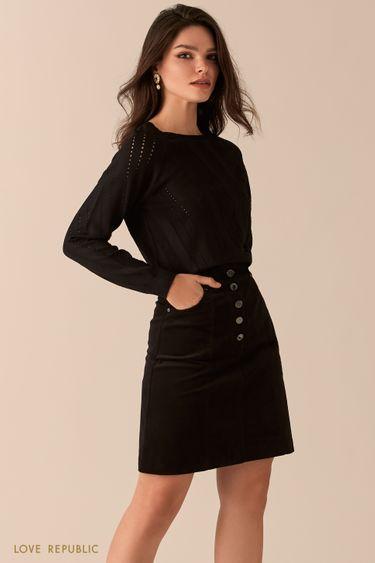 Вельветовая юбка-трапеция с высокой посадкой 0450223216