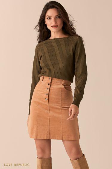 Бежевая вельветовая юбка-трапеция с высокой посадкой 0450223216