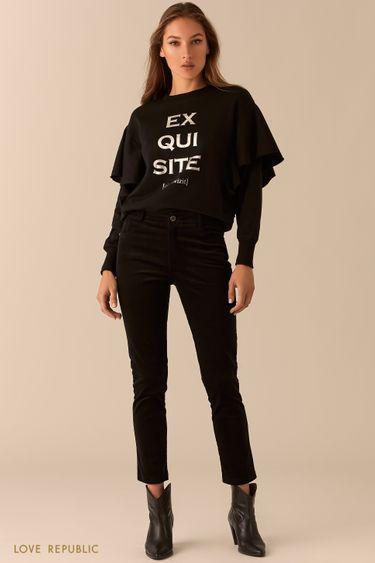 Вельветовые зауженные брюки черного цвета 0450223716