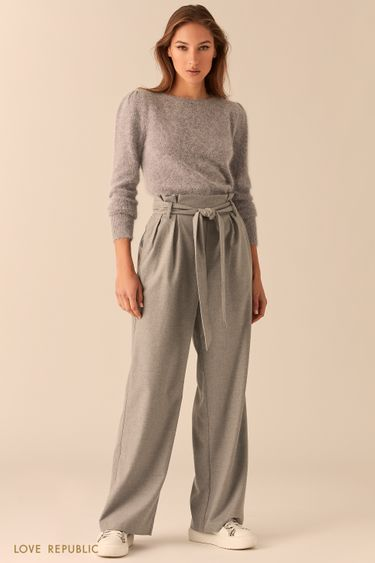 Серые широкие брюки с поясом 0450224718