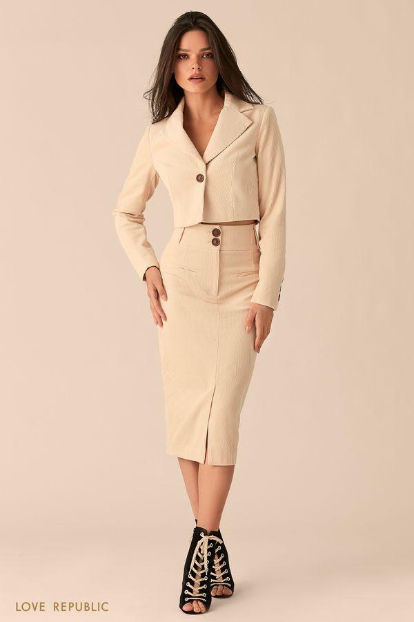 Вельветовая юбка-карандаш с разрезом кремового цвета 0450206204-61