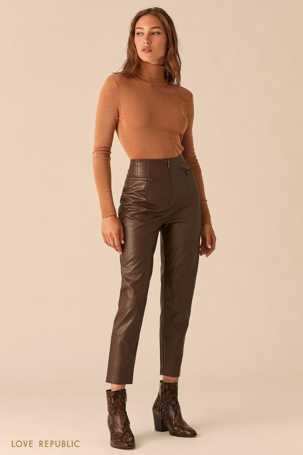 Шоколадные брюки из экокожи с ацентными молниями 0450212708-22