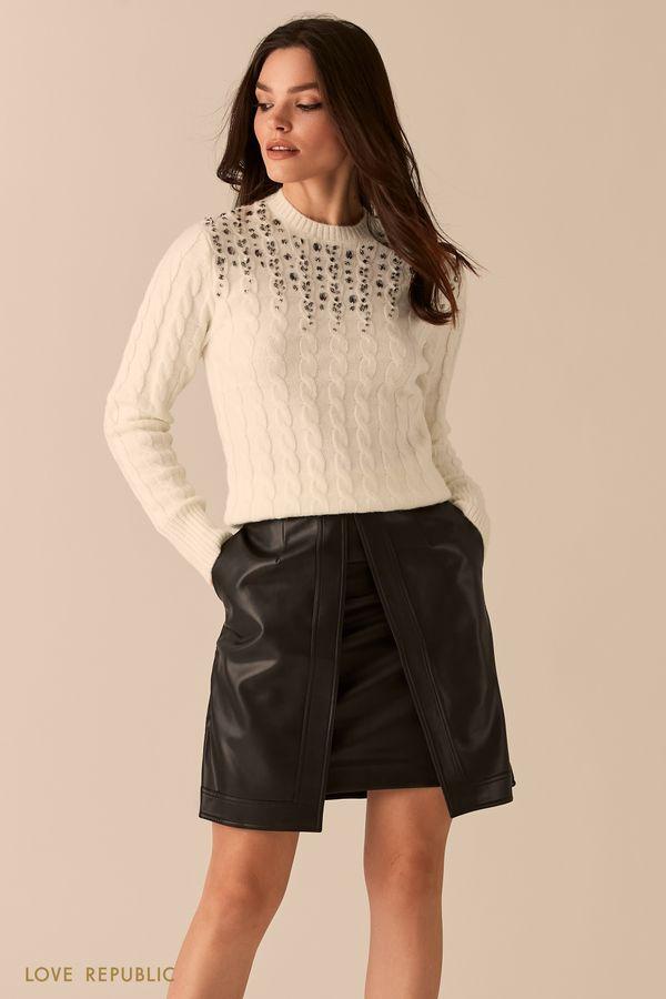 Двойная юбка из экокожи с разрезом 0450213210-67