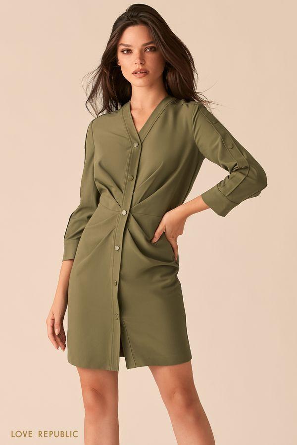 Мини-платье цвета хаки с акцентными драпировками на талии 0450214538-13