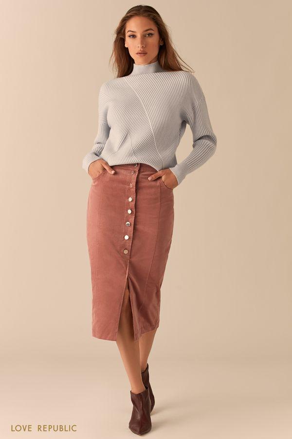 Вельветовая юбка миди на пуговицах 0450223215-62