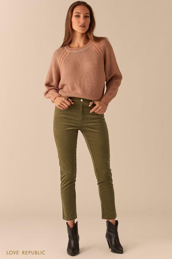 Вельветовые зауженные брюки сливового цвета 0450223716-62