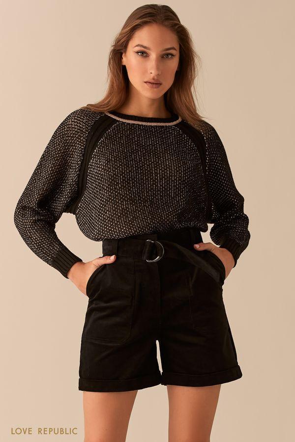 Вельветовые шорты-бермуды черного цвета с высокой посадкой 0450223717-50