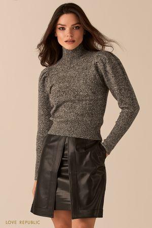 Джемпер с рукавами-буфами в оттенке светло-серый меланж