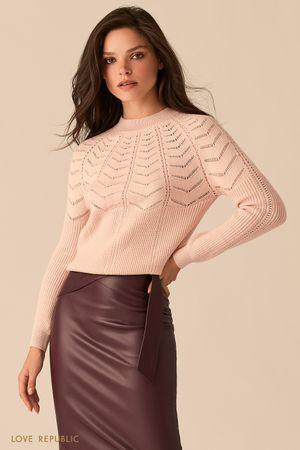 Трикотажный розовый джемпер ажурной вязки
