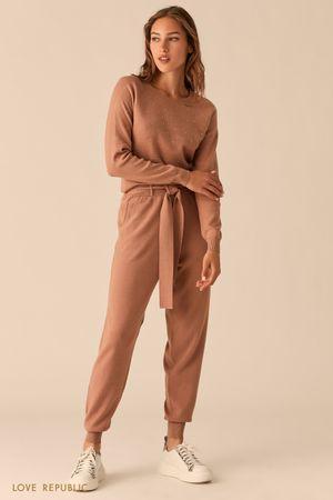 Трикотажные брюки-джоггеры с поясом на талии