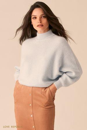 Голубой свитер с рукавами