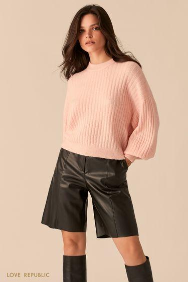Розовый oversize свитер с объемными рукавами 0450302802