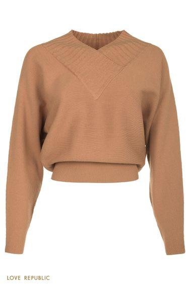 Фактурный бежевый oversize свитер с V-образным вырезом 0450305805