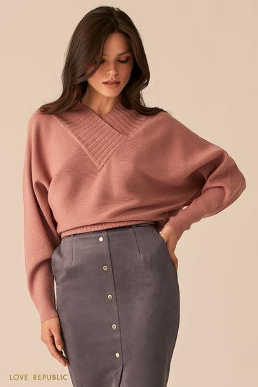 Фактурный пыльно-розовый oversize свитер с V-образным вырезом 0450305805