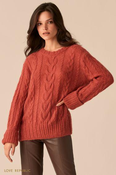 Мягкий свитер с косами из мохера 0450314818