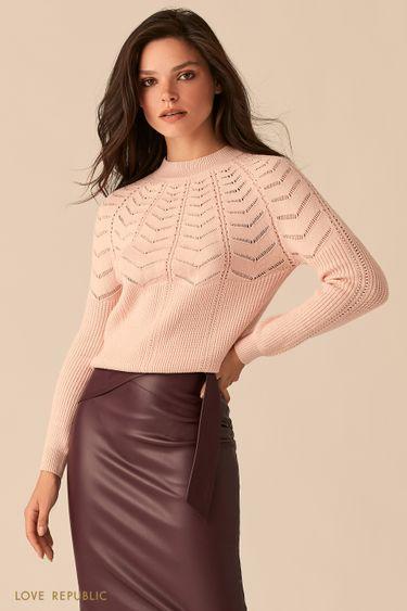 Трикотажный розовый джемпер ажурной вязки 0450320822